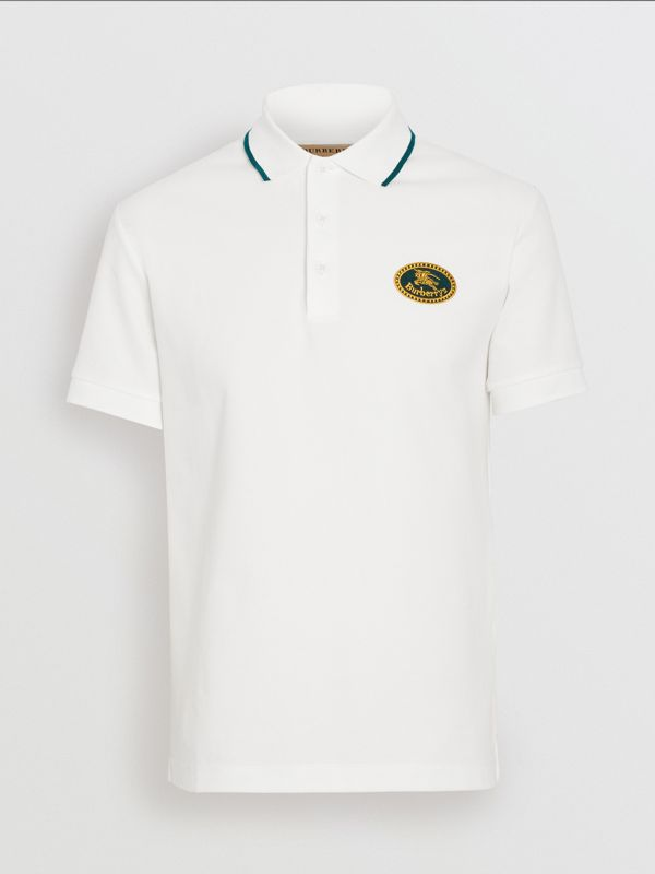Archive Logo Cotton Piqué Polo Shirt in White - Men | Burberry - cell image 3