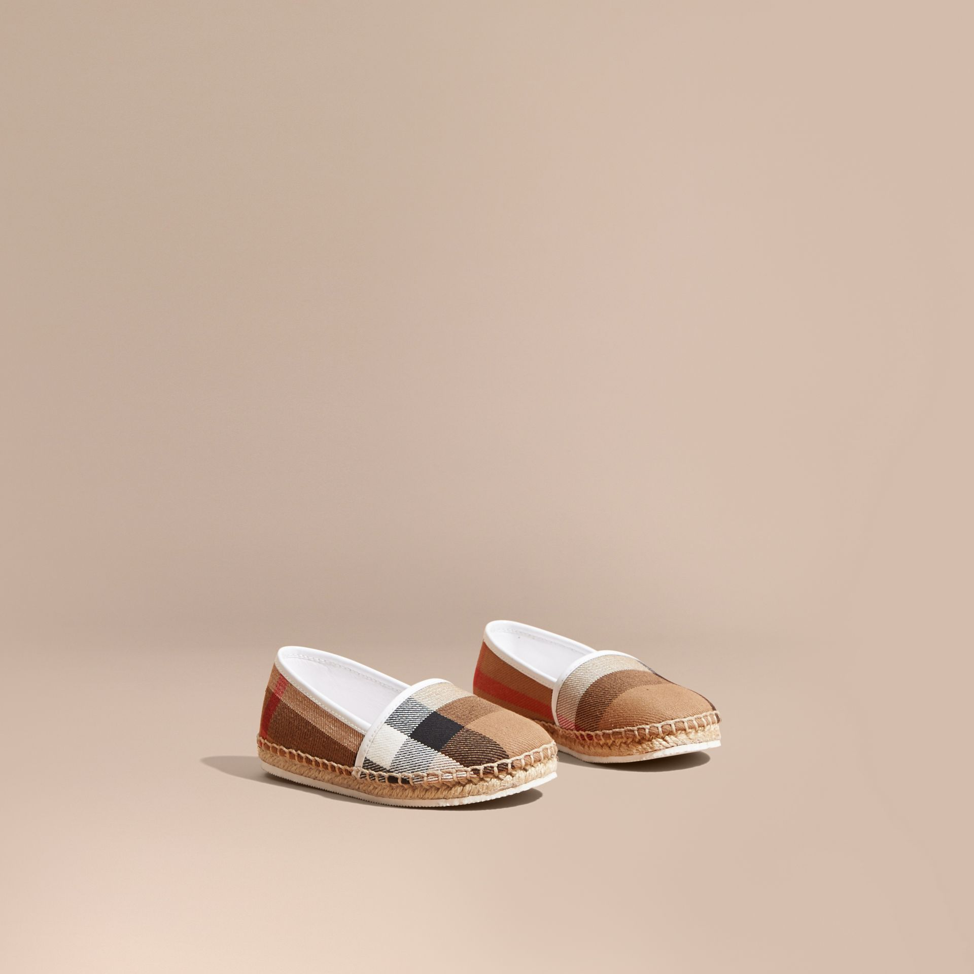 Leather and House Check Espadrilles in Optic White - gallery image 1
