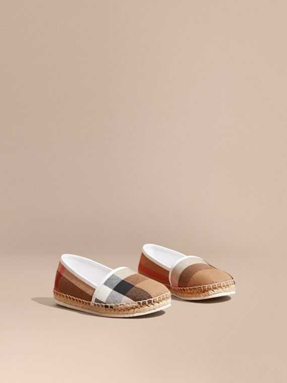 Leather and House Check Espadrilles Optic White