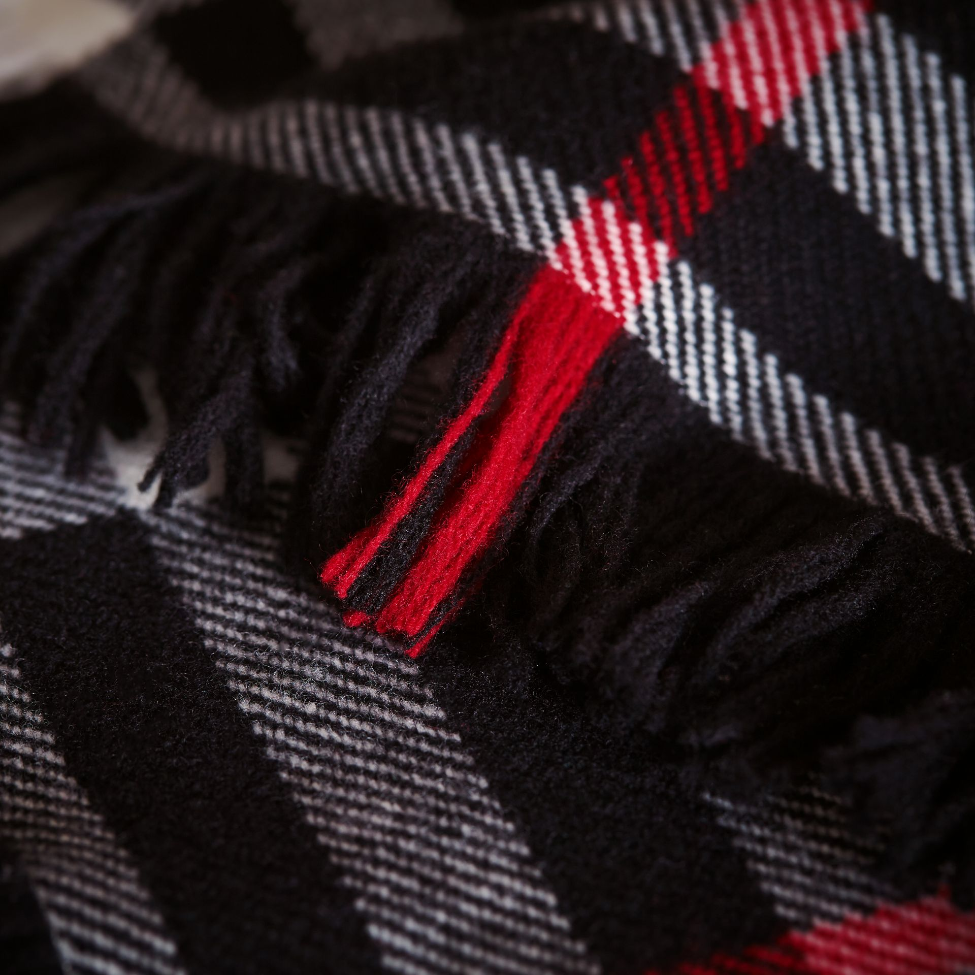Fringed Check Wool Mini Scarf in Black | Burberry Canada - gallery image 1
