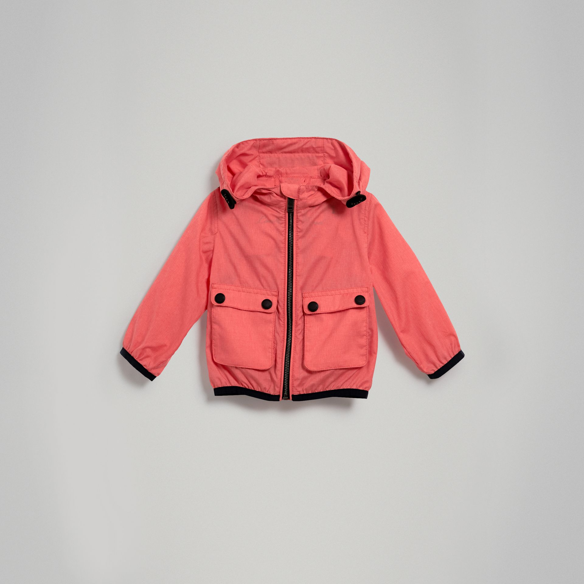 Showerproof Hooded Jacket in Bright Coral Pink - Children | Burberry - gallery image 0