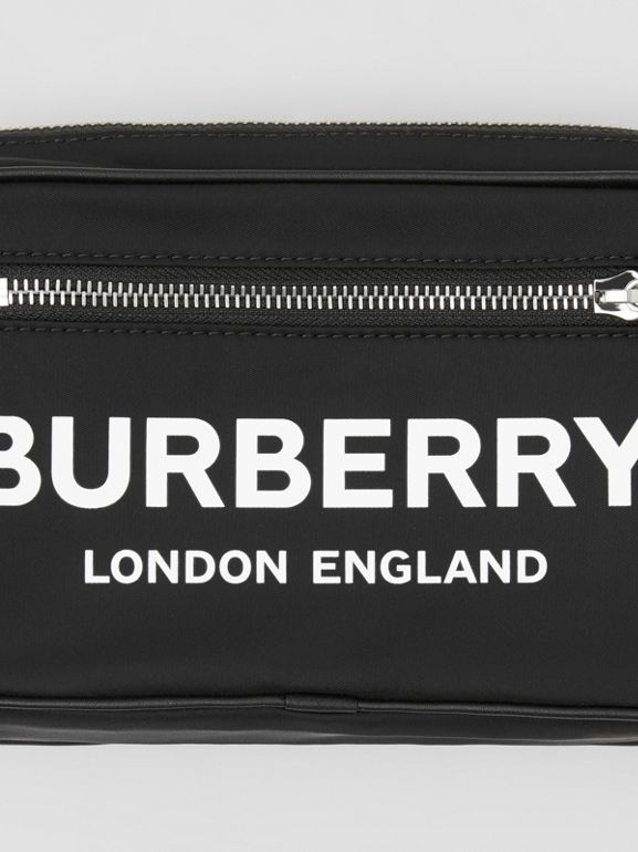 Logo Print Nylon Bum Bag in Black | Burberry - cell image 1