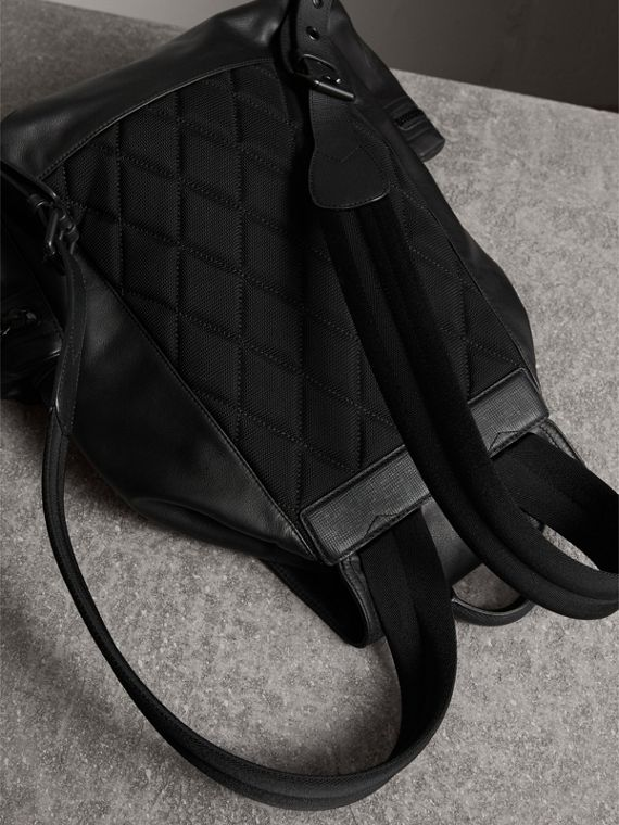 The Large Rucksack in Water-repellent Leather in Black - Men | Burberry - cell image 3