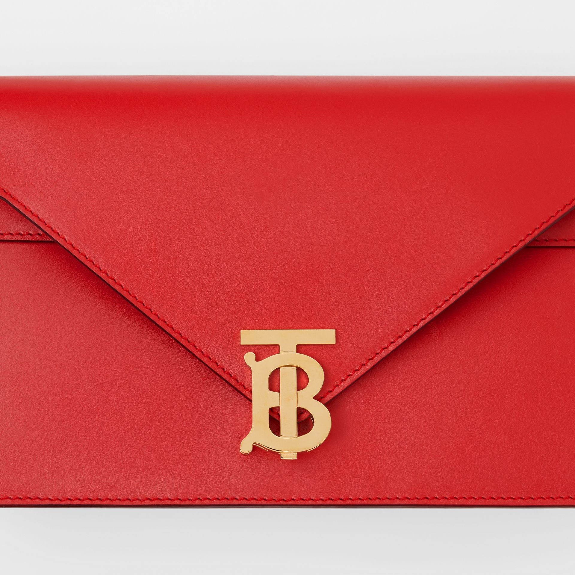 Small Leather TB Envelope Clutch in Bright Military Red - Women | Burberry - gallery image 1