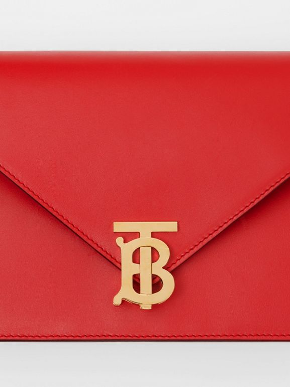 Small Leather TB Envelope Clutch in Bright Military Red - Women | Burberry United States - cell image 1