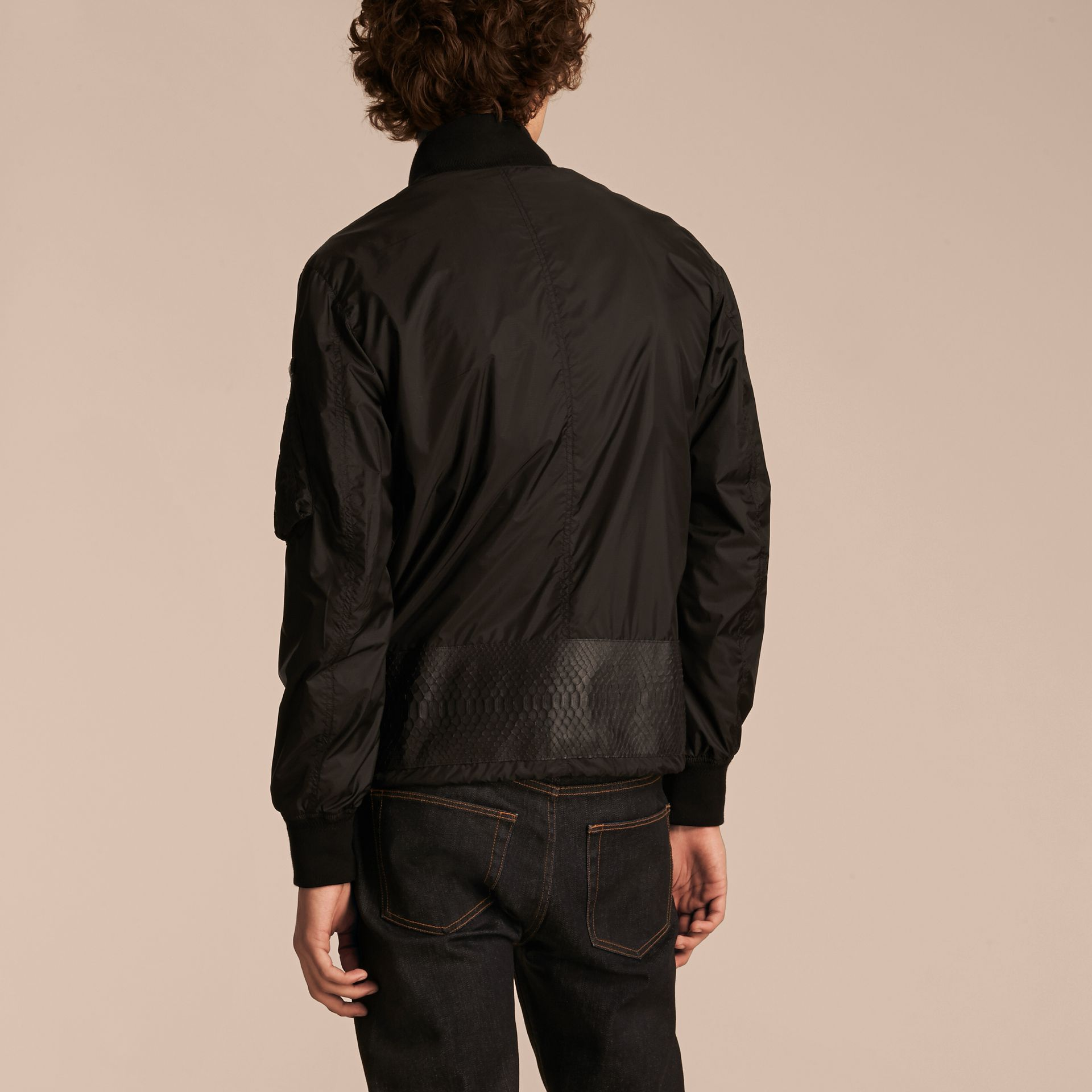 Lightweight Technical Bomber Jacket with Snakeskin in Black - Men | Burberry - gallery image 3