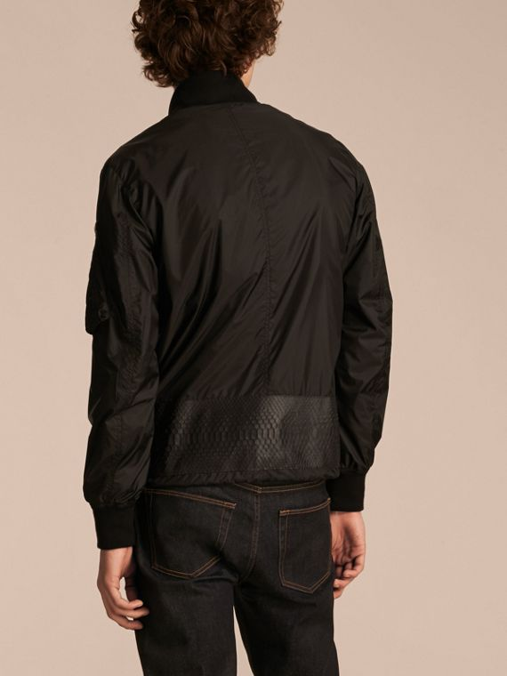 Lightweight Technical Bomber Jacket with Snakeskin in Black - Men | Burberry - cell image 2