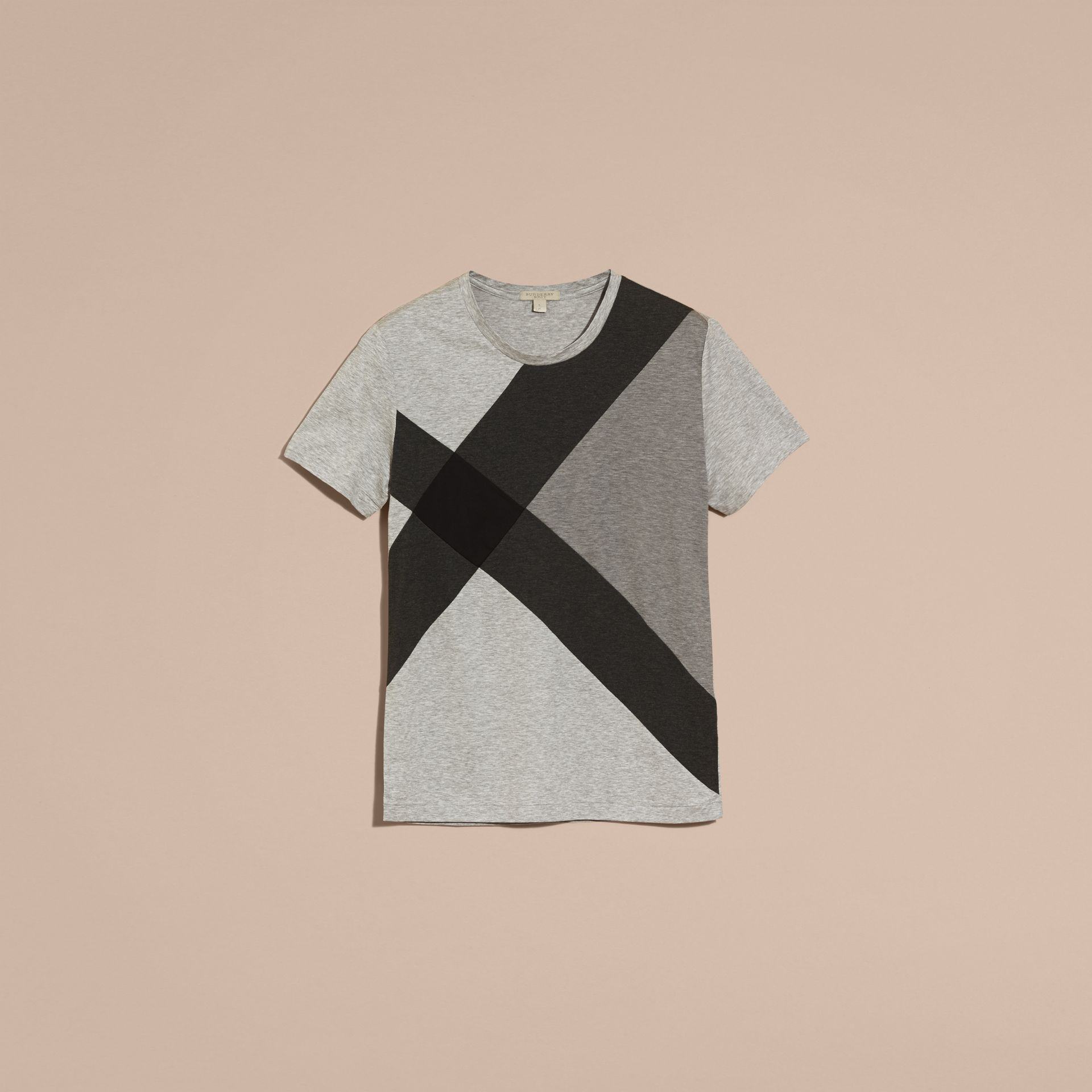 Light grey melange Exploded Check Cotton T-shirt - gallery image 4
