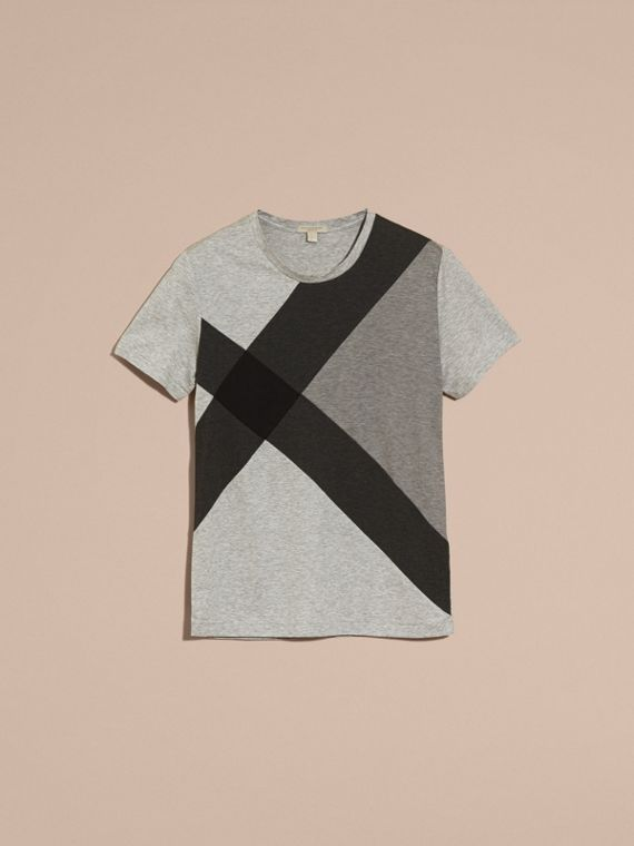 Light grey melange Exploded Check Cotton T-shirt - cell image 3