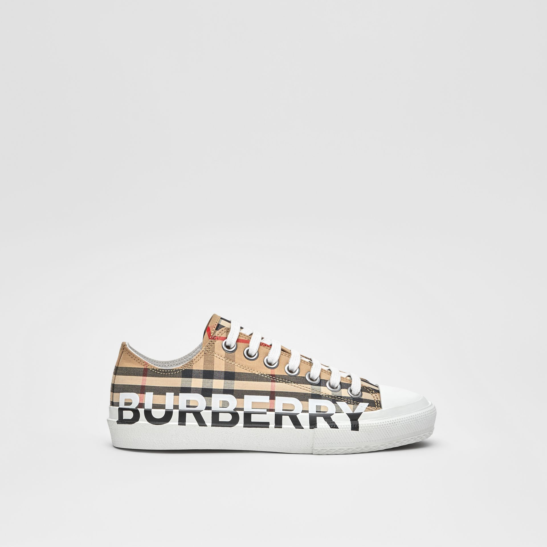 Logo Print Vintage Check Cotton Sneakers in Archive Beige - Women | Burberry - gallery image 4