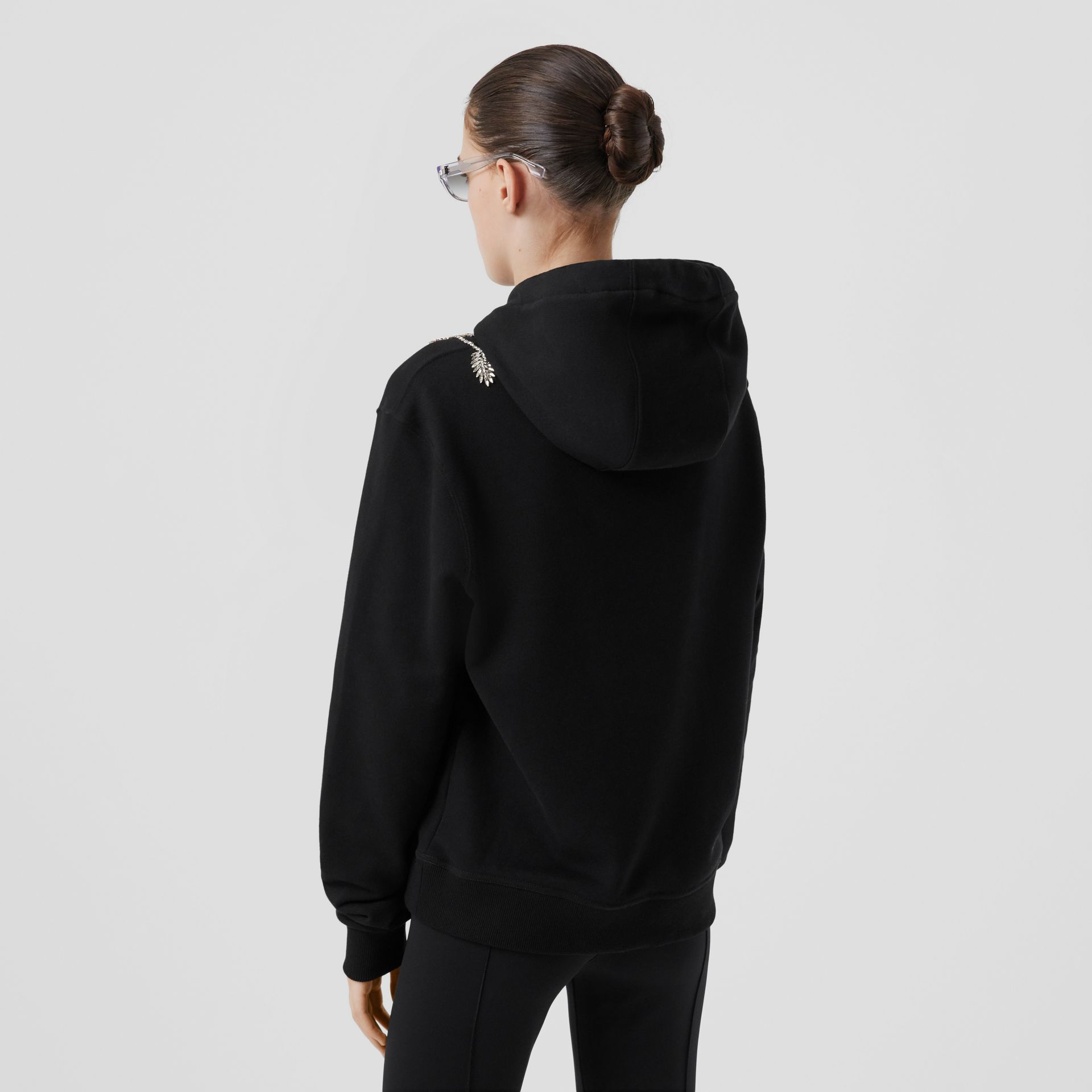 Embellished Cotton Oversized Hoodie in Black - Women | Burberry - gallery image 2