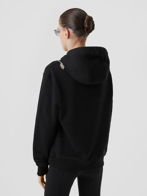 Embellished Cotton Oversized Hoodie in Black - Women | Burberry - cell image 2