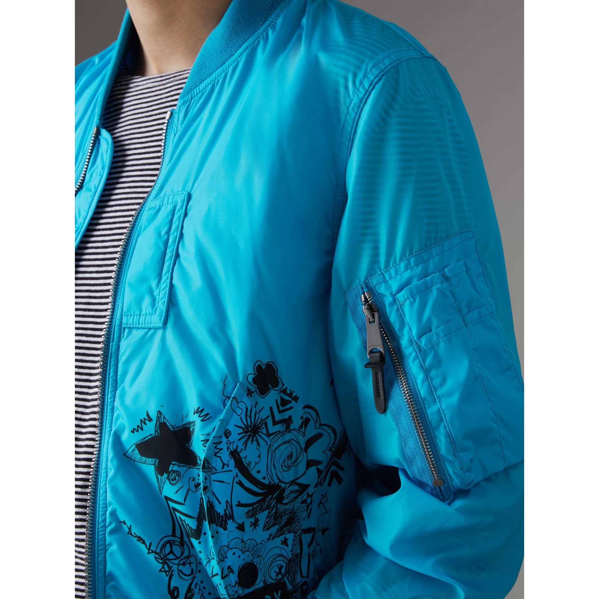 Doodle Print Bomber Jacket in Bright Blue | Burberry - gallery image 1