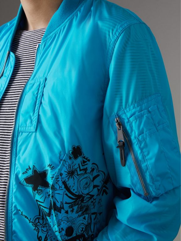Doodle Print Bomber Jacket in Bright Blue | Burberry - cell image 1