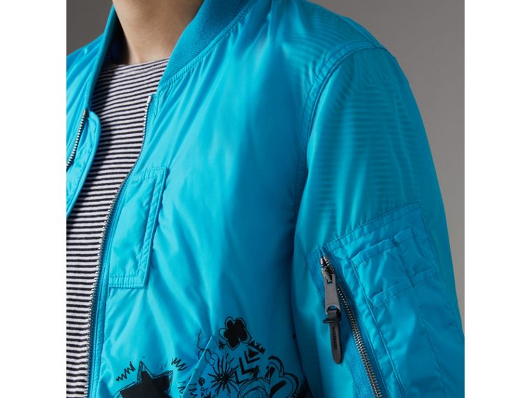 Doodle Print Bomber Jacket in Bright Blue - Men | Burberry - cell image 1