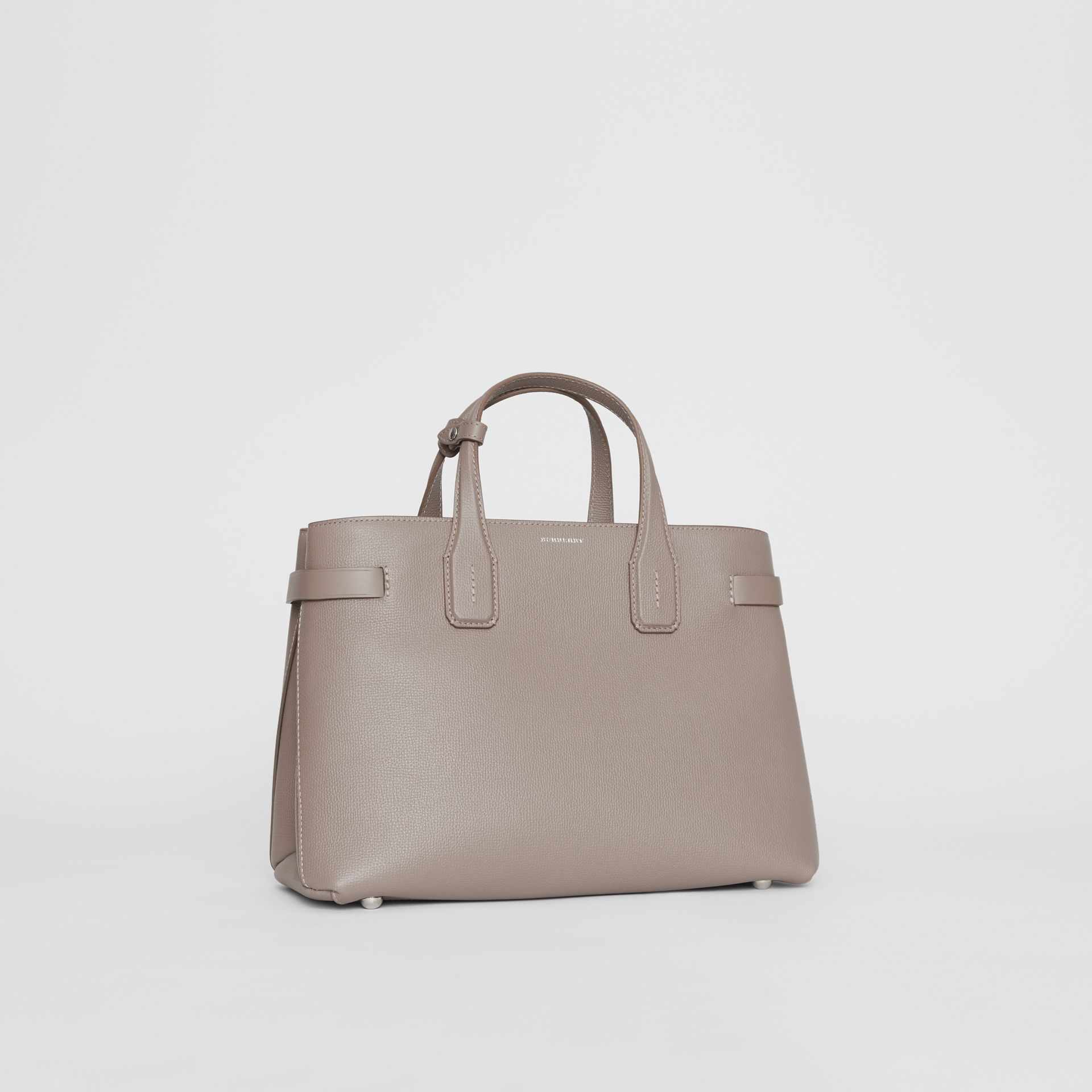 The Medium Banner in Leather and Vintage Check in Taupe Brown - Women | Burberry Australia - gallery image 0