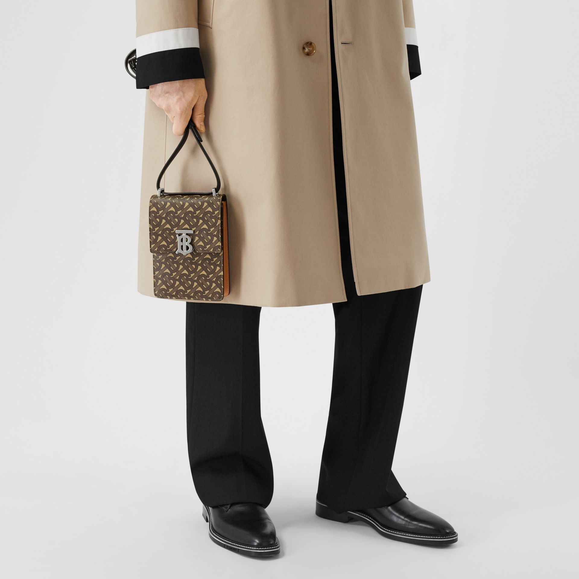 Monogram Print E-canvas Robin Bag in Bridle Brown | Burberry United Kingdom - gallery image 3