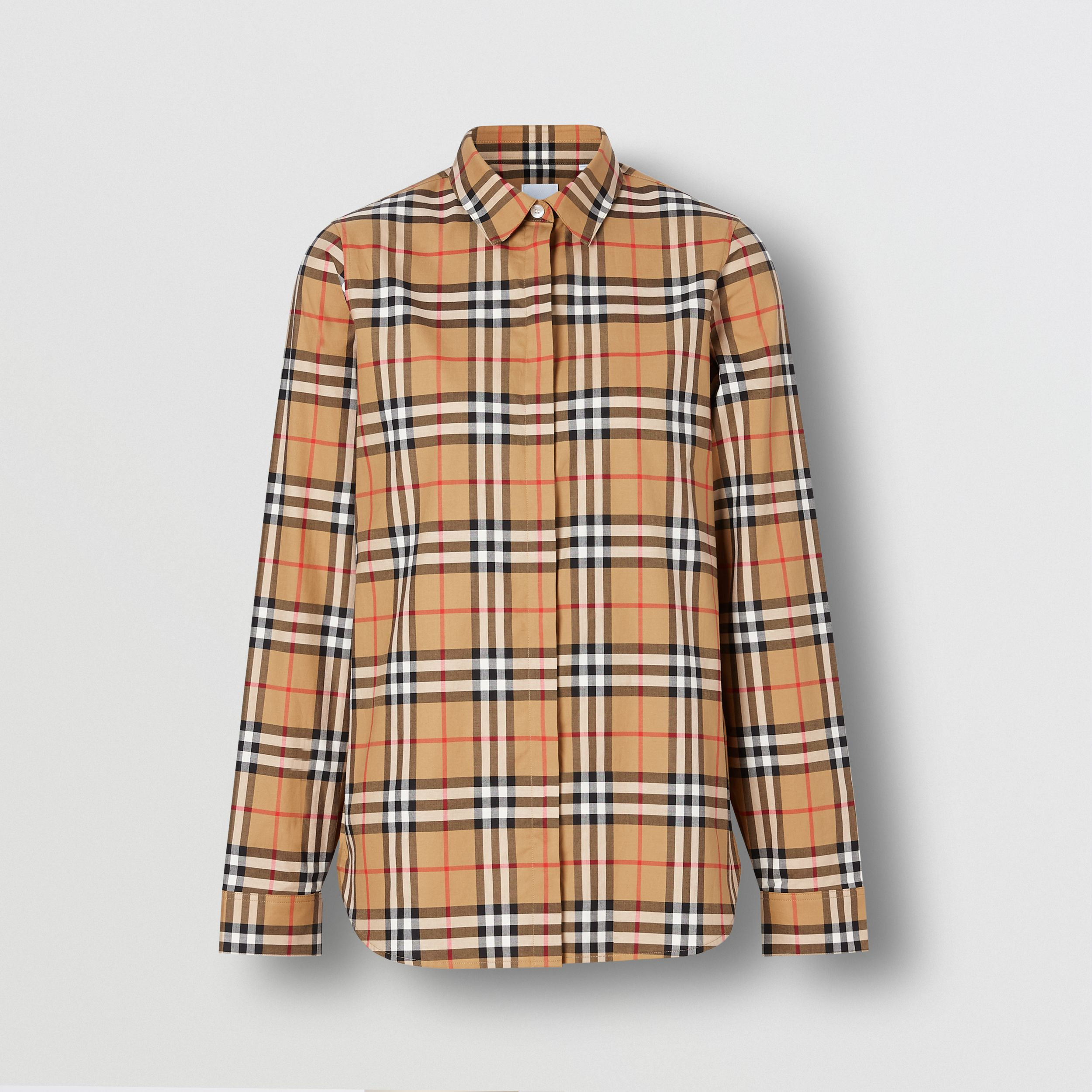 Vintage Check Cotton Oversized Shirt in Antique Yellow - Women | Burberry - 4