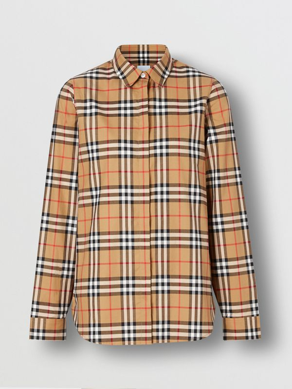 Vintage Check Cotton Shirt in Antique Yellow - Women | Burberry United Kingdom - cell image 3