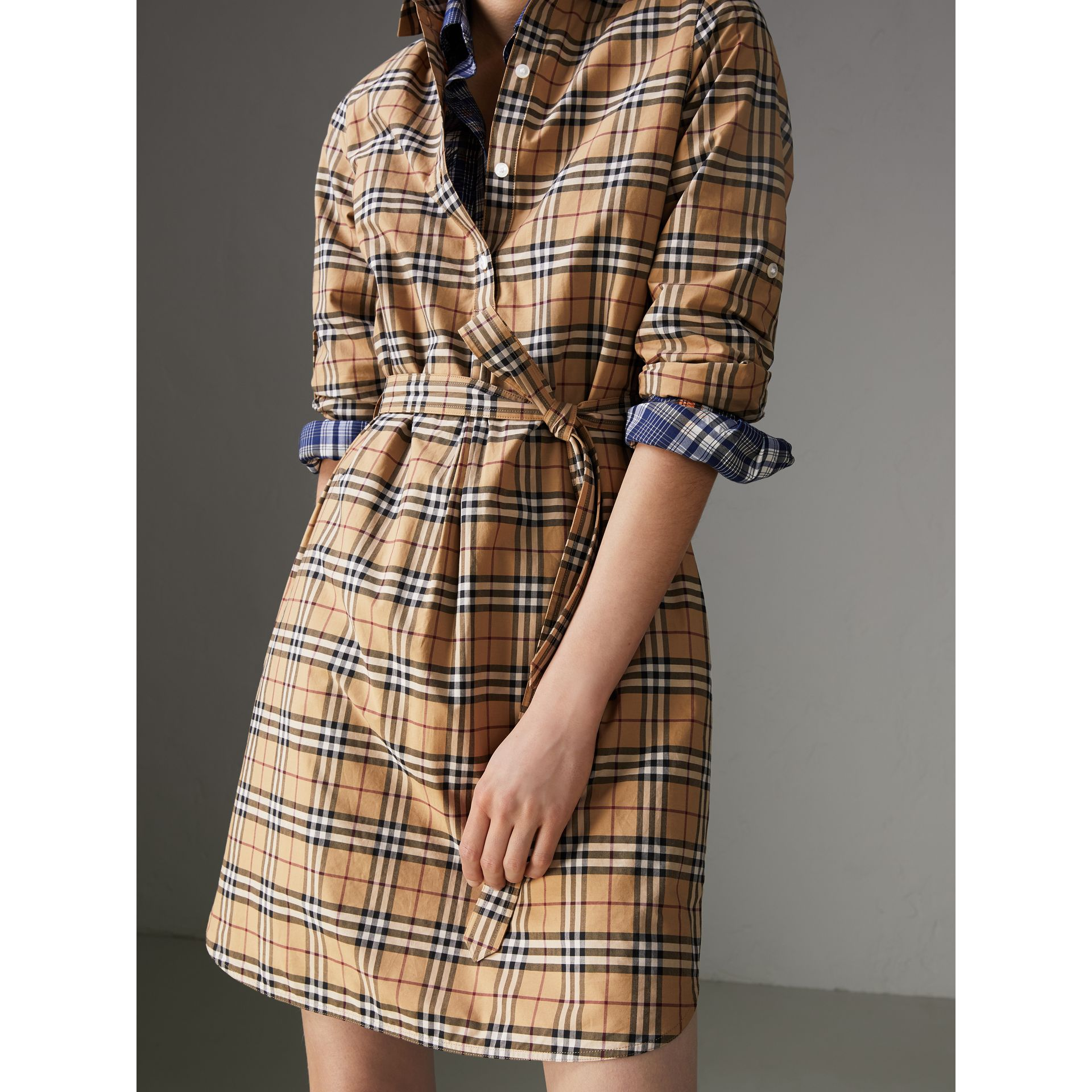 Check Cotton Tunic Dress in Camel - Women | Burberry - gallery image 1