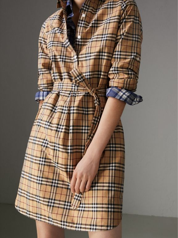 Check Cotton Tunic Dress in Camel - Women | Burberry Australia - cell image 1