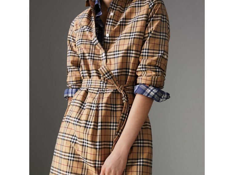 Check Cotton Tunic Dress in Camel - Women | Burberry - cell image 1