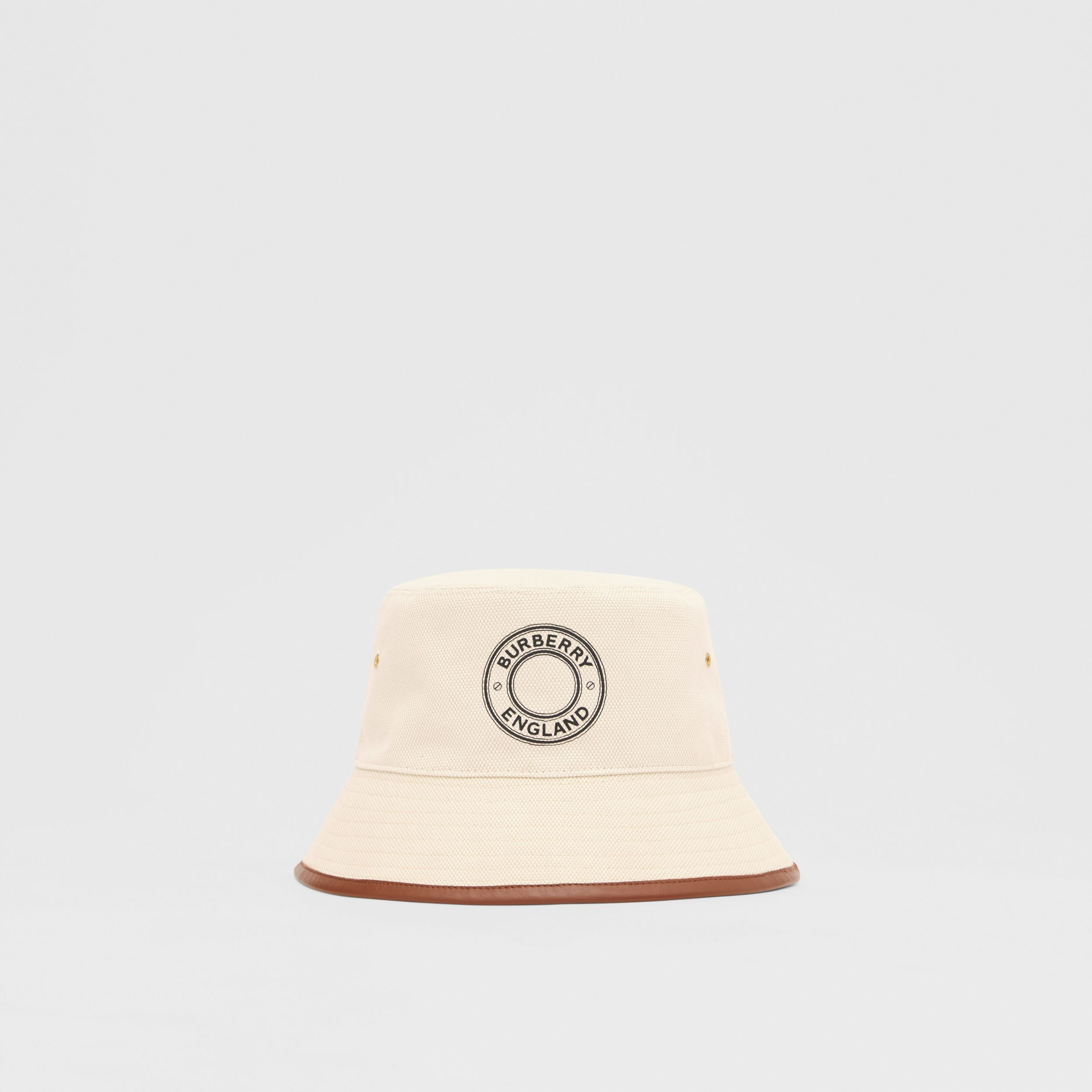Leather Trim Logo Graphic Canvas Bucket Hat in Beige | Burberry - 1