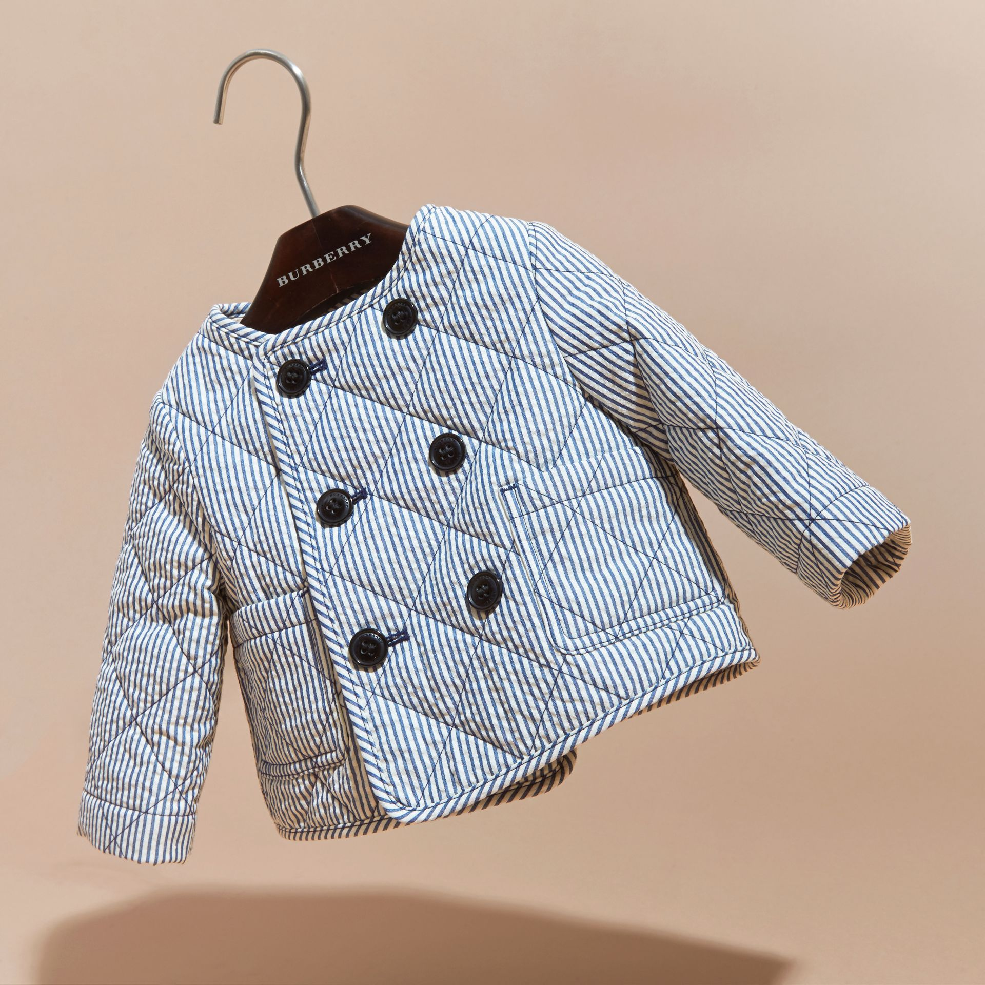 Collarless Striped Quilted Cotton Blend Jacket in Indigo - Children | Burberry - gallery image 3