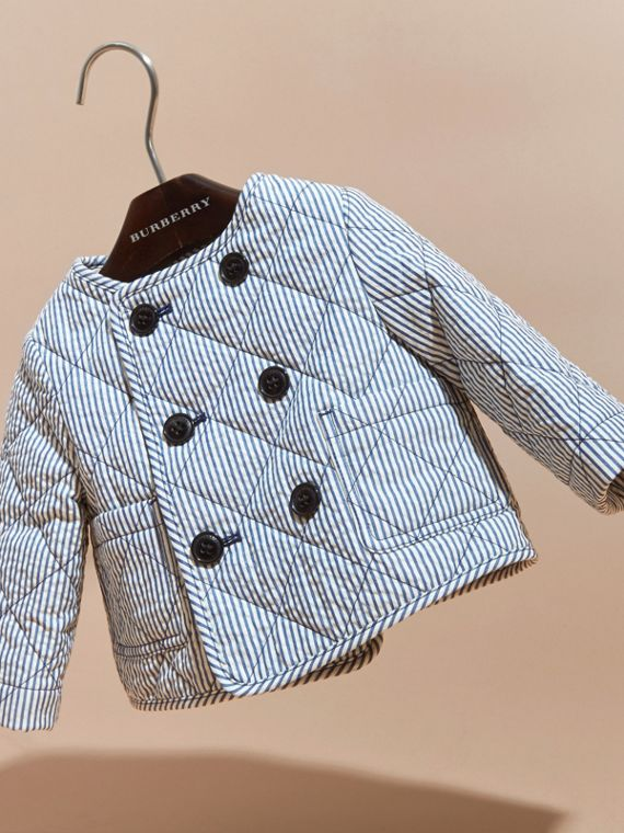 Collarless Striped Quilted Cotton Blend Jacket in Indigo - Children | Burberry - cell image 2