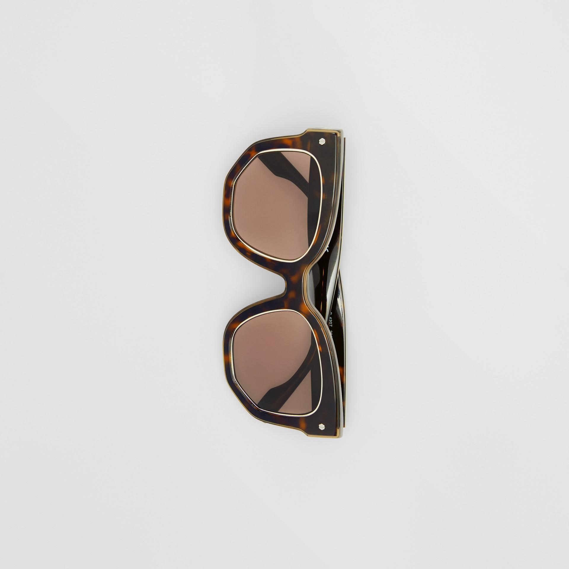 Geometric Frame Sunglasses in Tortoiseshell - Women | Burberry United Kingdom - gallery image 3