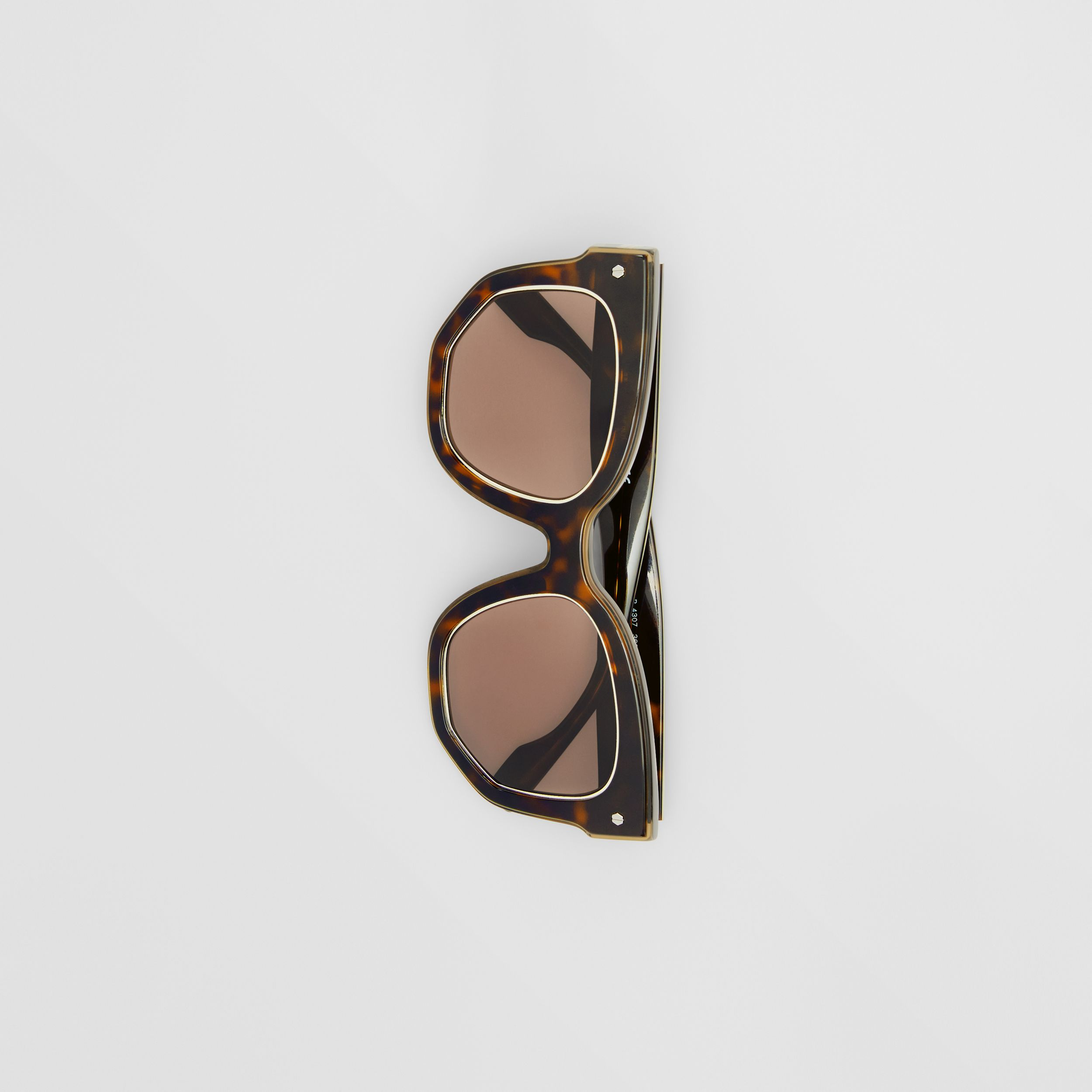 Geometric Frame Sunglasses in Tortoiseshell | Burberry - 4