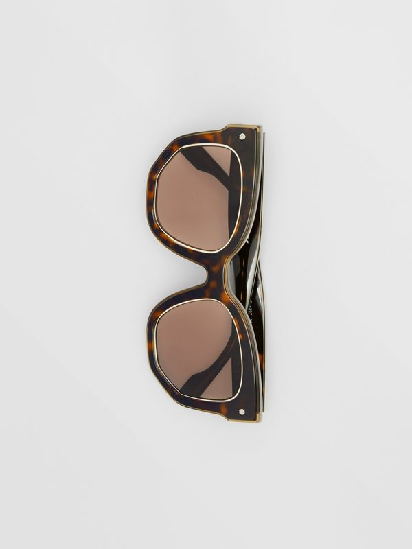 Geometric Frame Sunglasses in Tortoiseshell - Women | Burberry - cell image 3
