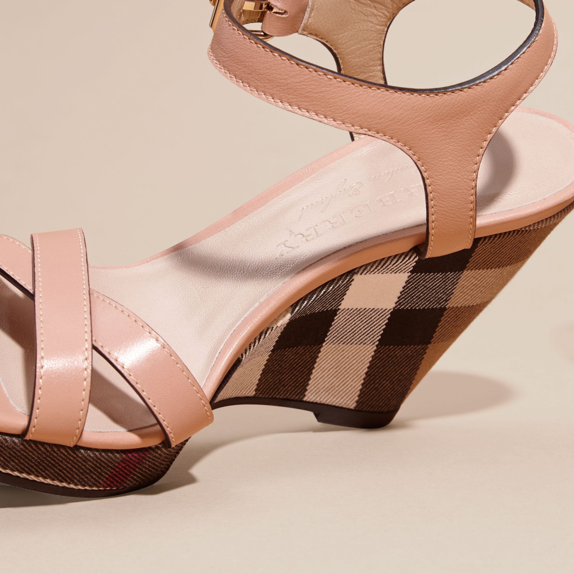 House Check Detail Leather Wedge Sandals in Nude Blush - Women | Burberry - gallery image 5