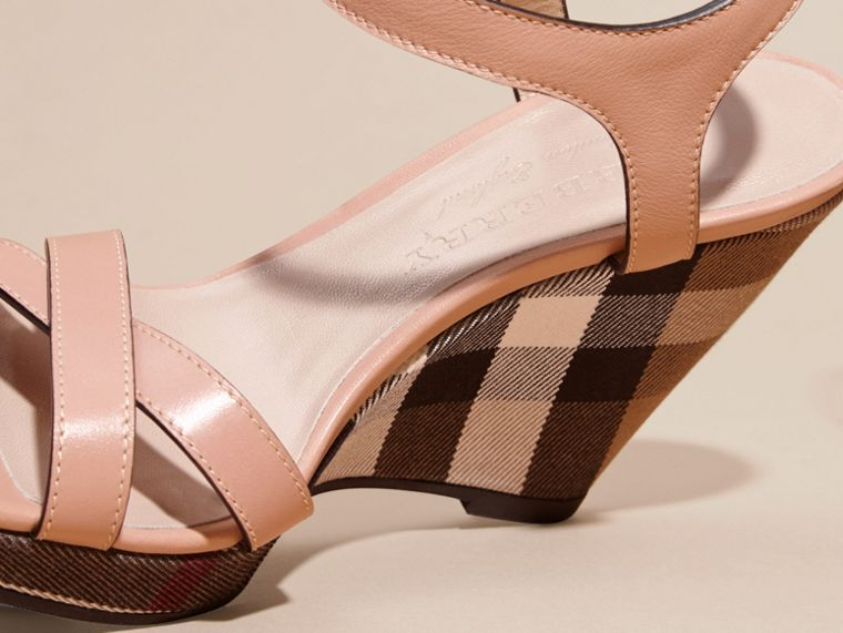 House Check Detail Leather Wedge Sandals in Nude Blush - Women | Burberry - cell image 4