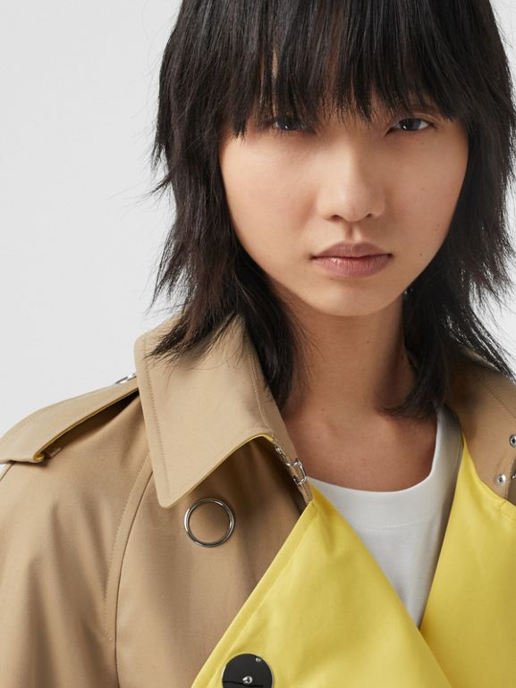Colour Block Cotton Gabardine Trench Coat in Honey - Women | Burberry - cell image 1