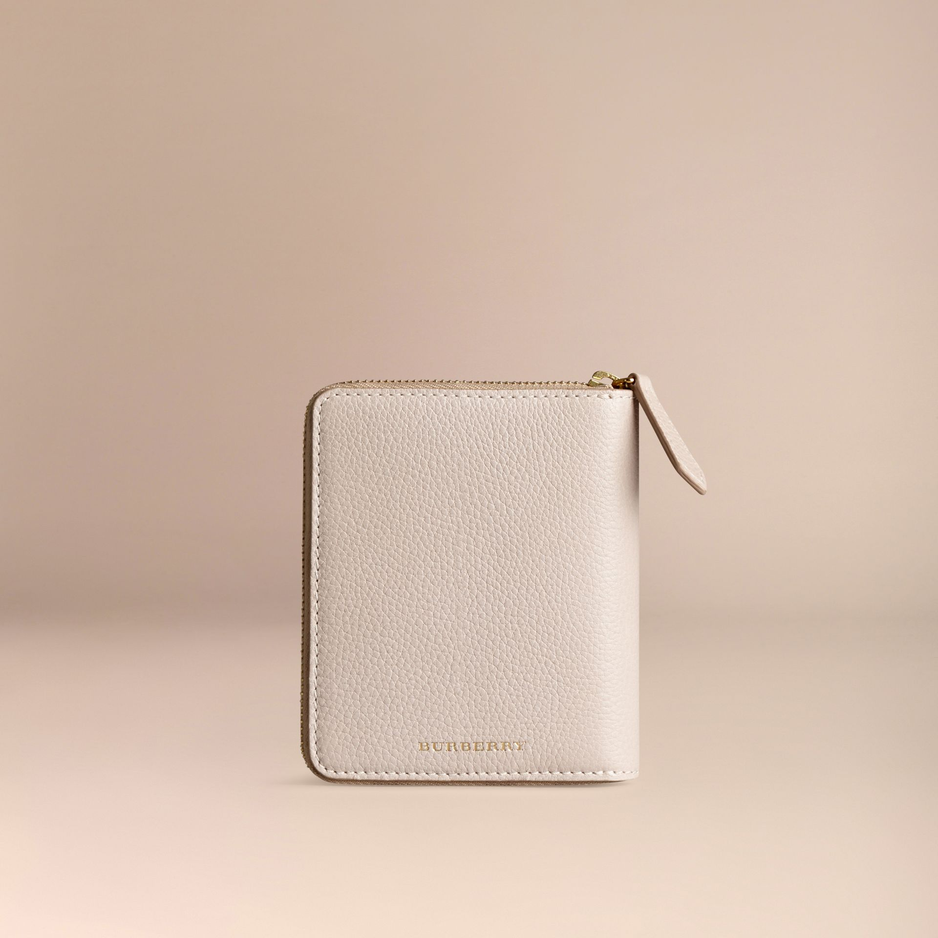 Ziparound Grainy Leather Mini Notebook in Stone | Burberry - gallery image 4