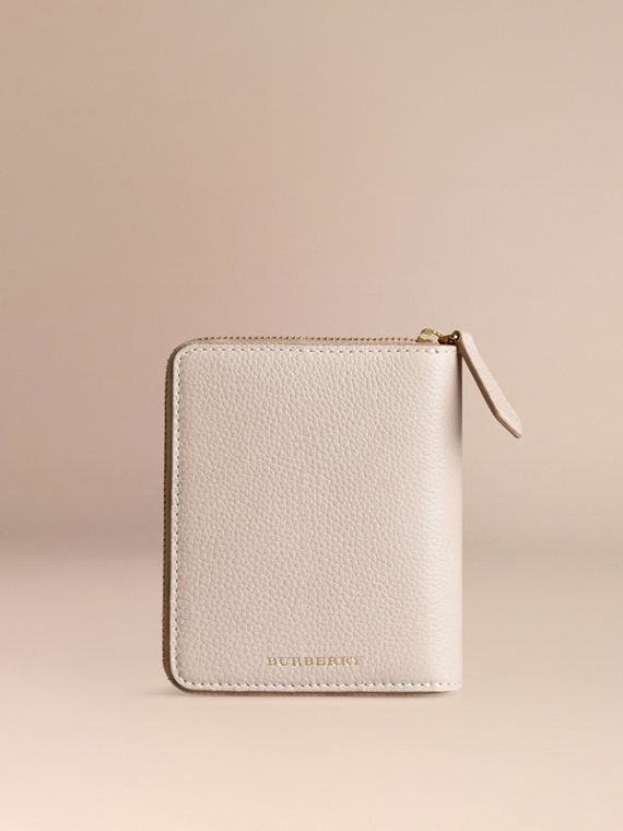 Ziparound Grainy Leather Mini Notebook in Stone | Burberry - cell image 3
