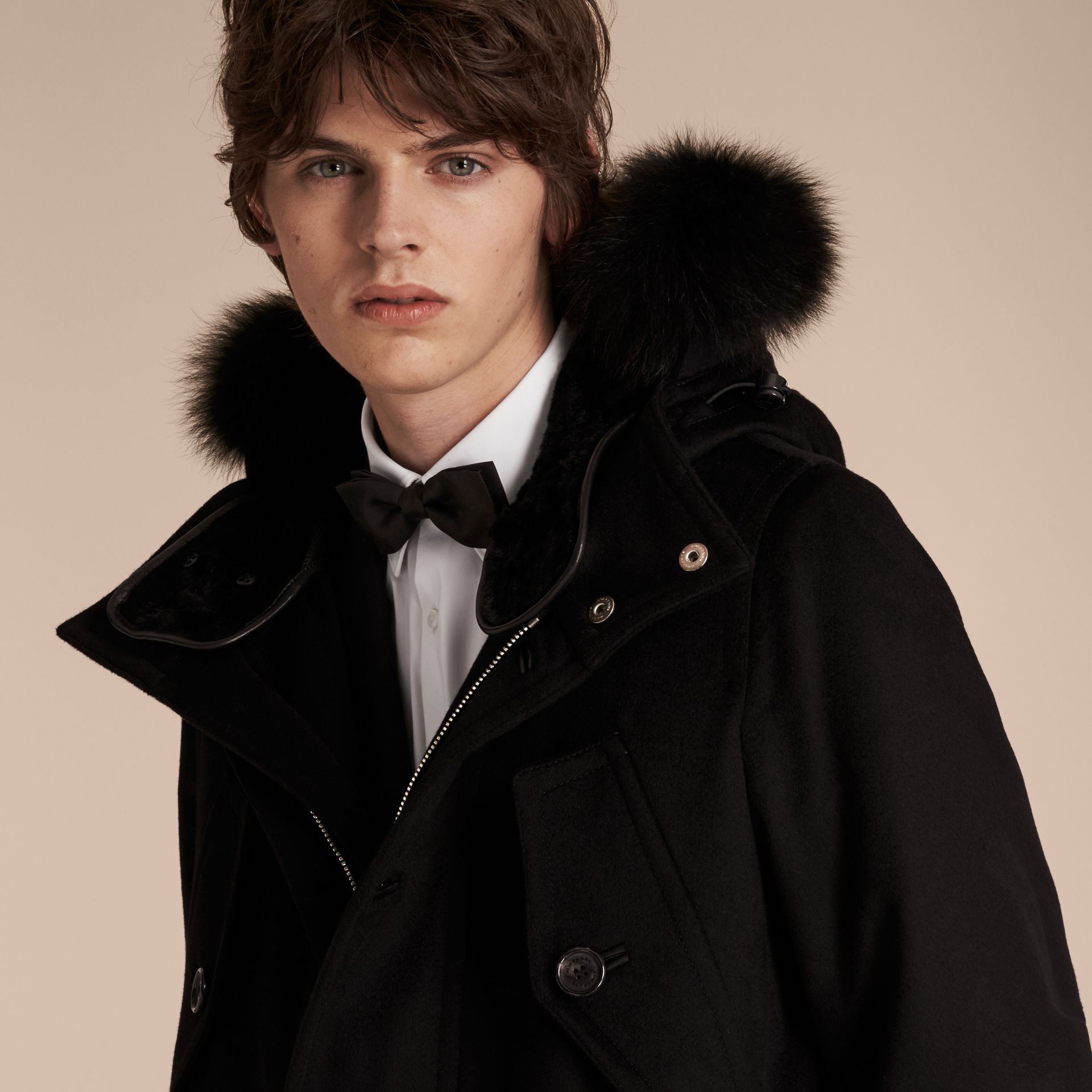 Black Fox and Shearling Trim Cashmere Parka with Fur Liner - gallery image 6
