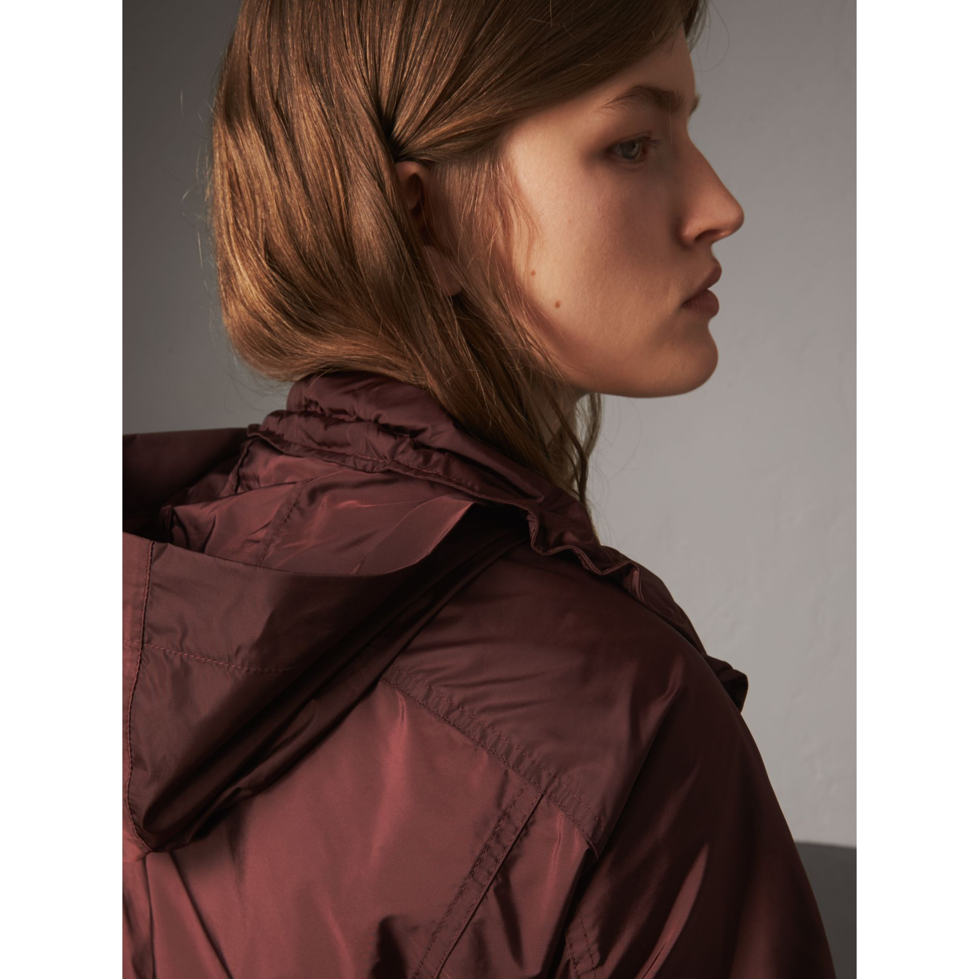 Packaway Hood Lightweight Rain Jacket in Deep Burgundy - Women | Burberry - gallery image 5