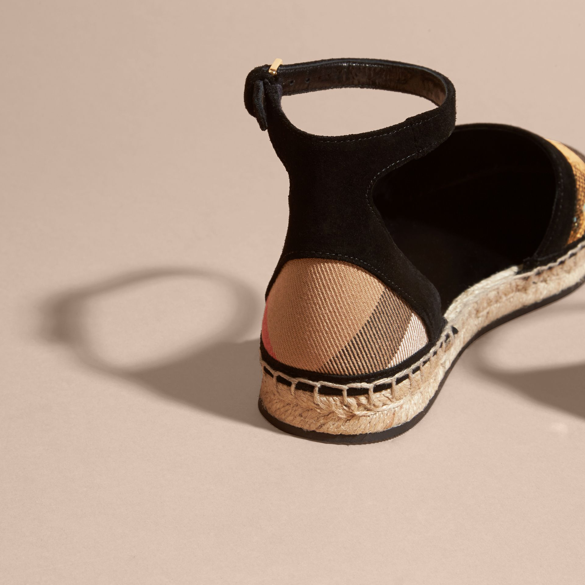 House check/gold Sequinned Leather and House Check Espadrille Sandals Check/gold - gallery image 4