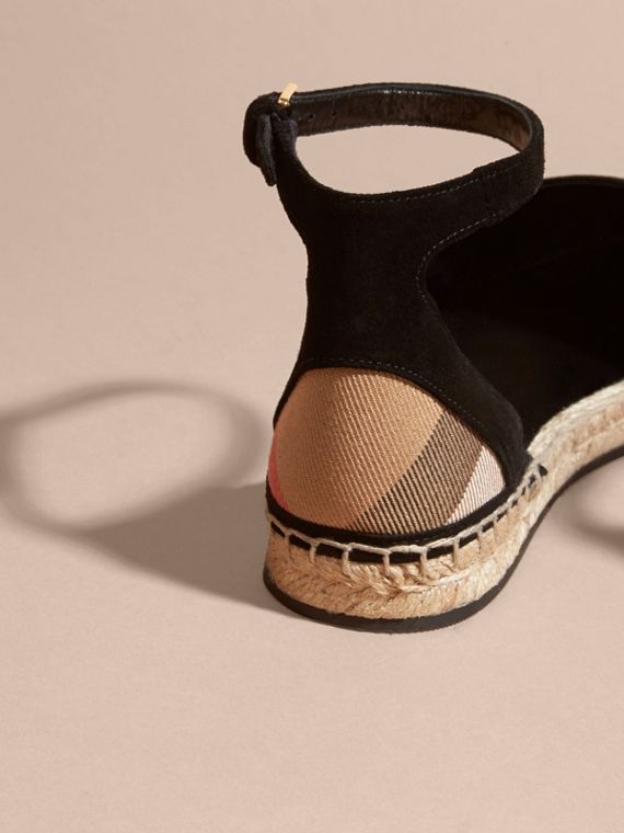 House check/gold Sequinned Leather and House Check Espadrille Sandals Check/gold - cell image 3