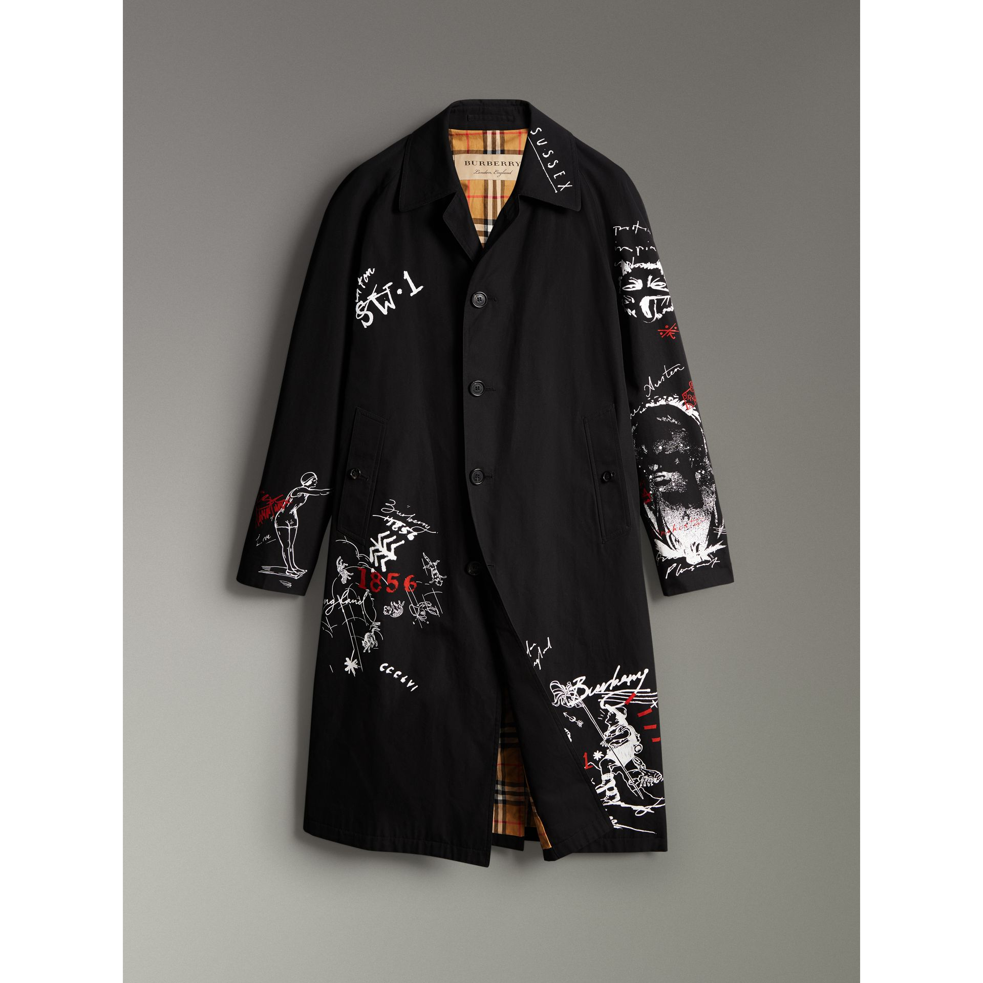 Sketch Print Car Coat in Black - Men | Burberry Australia - gallery image 3