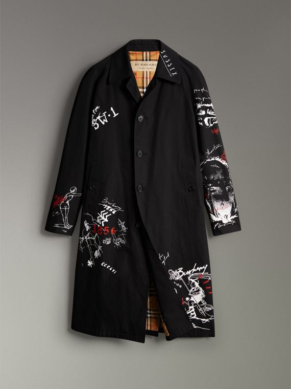Sketch Print Car Coat in Black - Men | Burberry Hong Kong - cell image 3