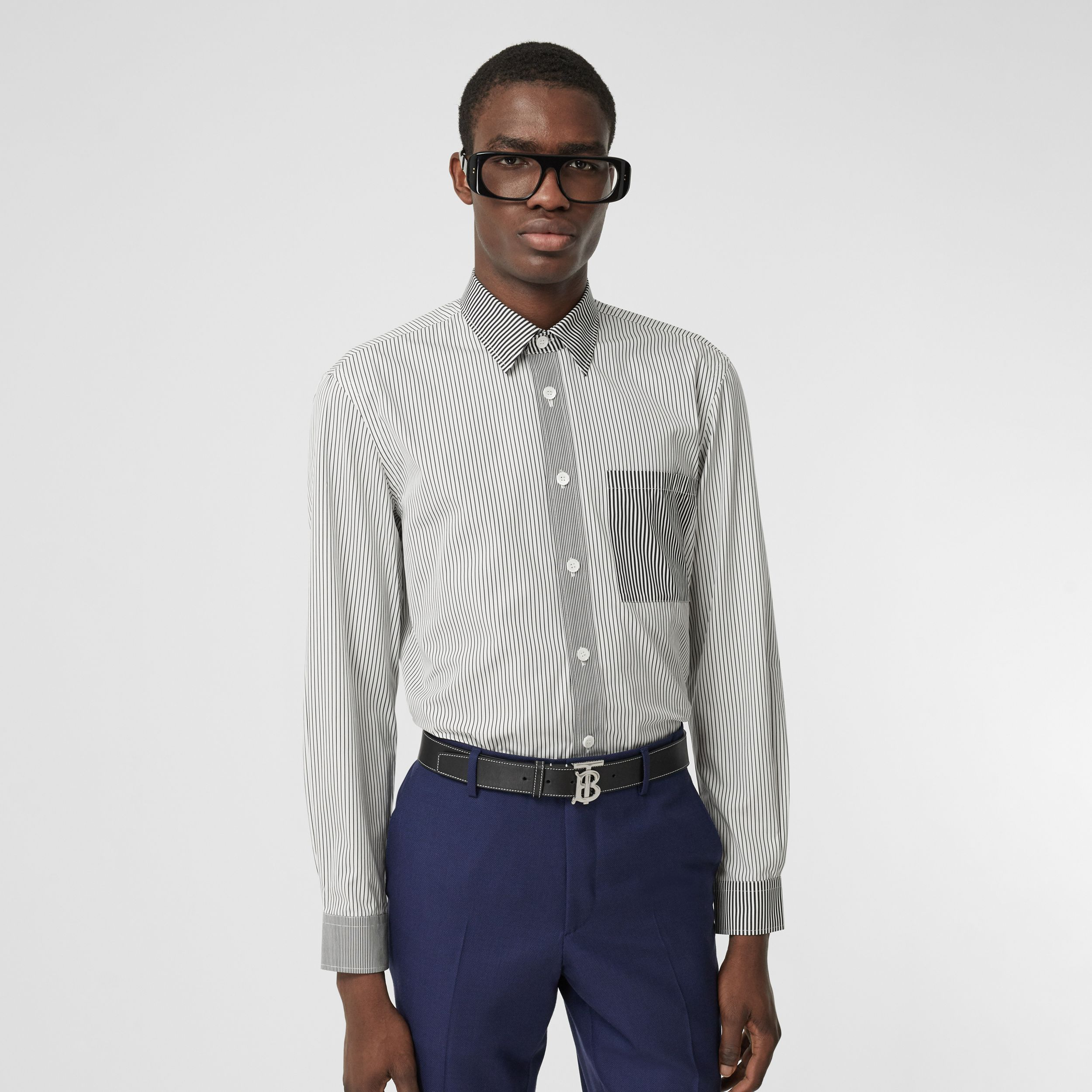 Classic Fit Contrast Stripe Cotton Shirt in Black - Men | Burberry - 1