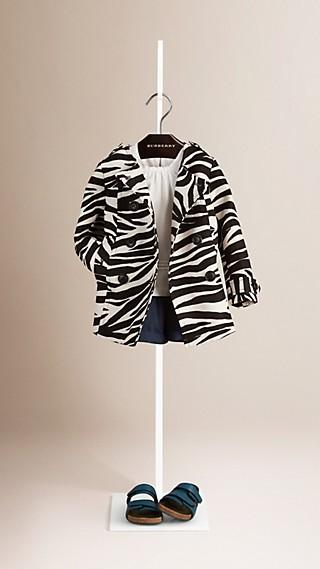 Manteau sans col en lin et coton d'esprit cocoon à imprimé zébré