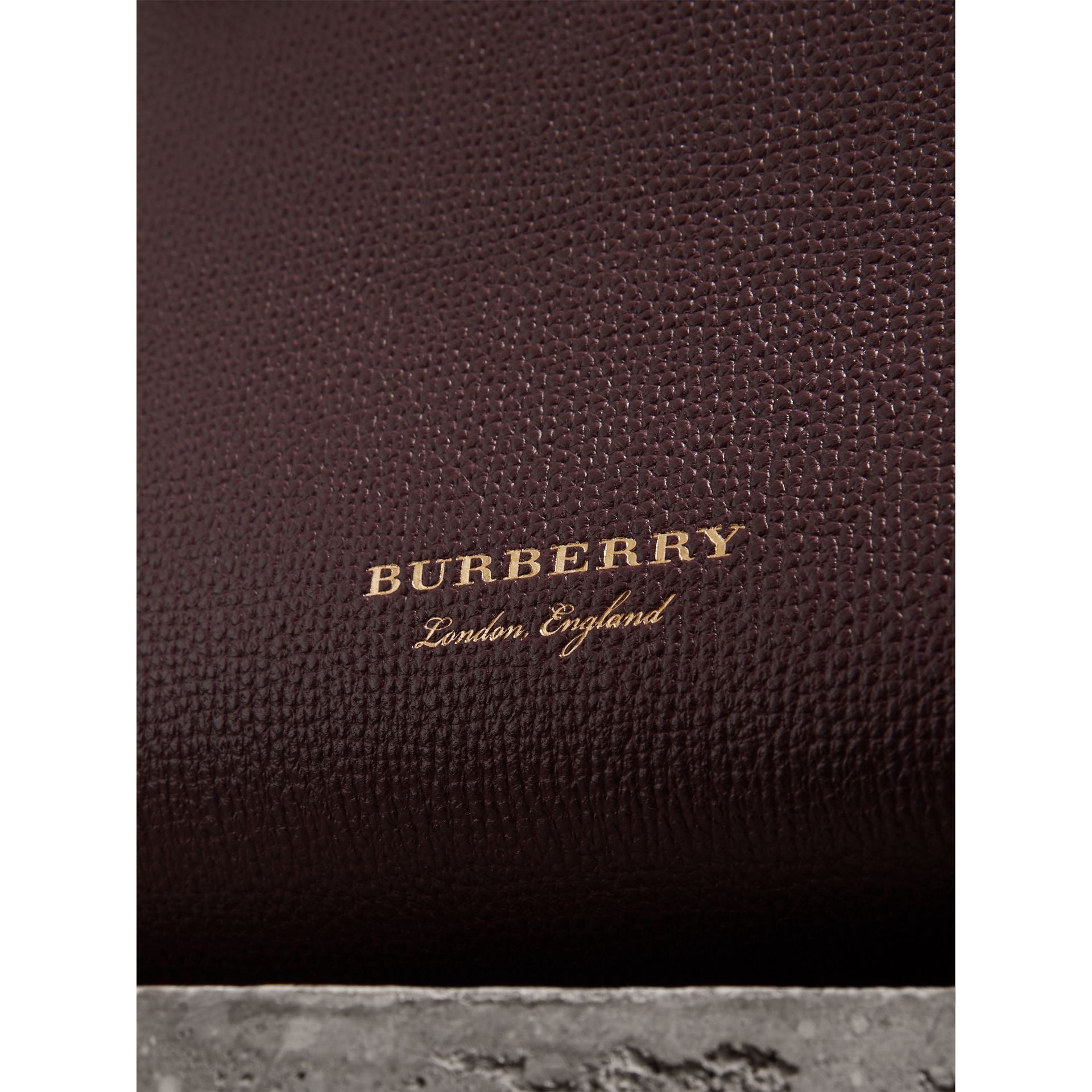The Baby Banner in Leather and House Check in Mahogany Red - Women | Burberry Singapore - gallery image 1