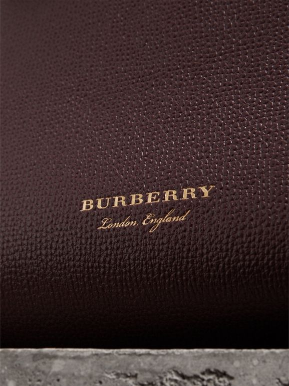 The Baby Banner in Leather and House Check in Mahogany Red - Women | Burberry - cell image 1