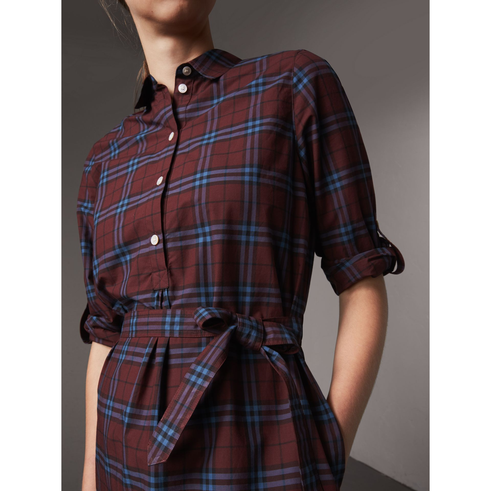 Check Cotton Tunic Dress in Crimson Red - Women | Burberry United Kingdom - gallery image 1
