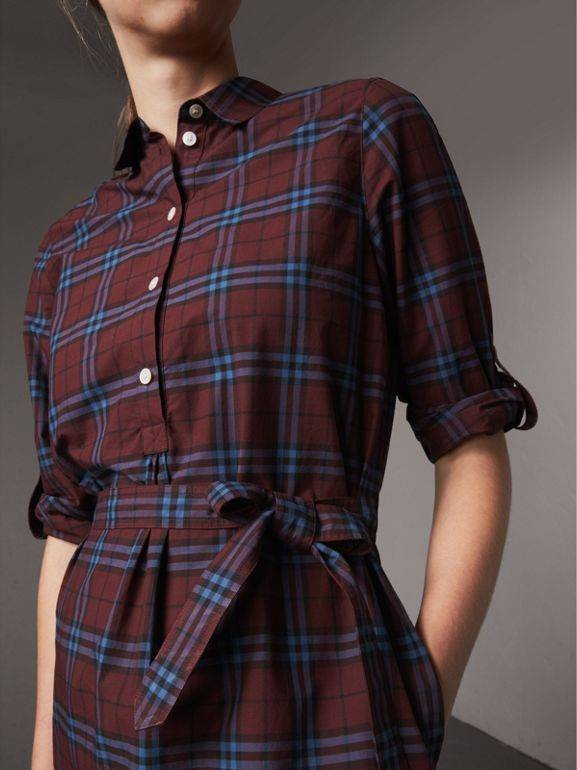 Check Cotton Tunic Dress in Crimson Red - Women   Burberry - cell image 1
