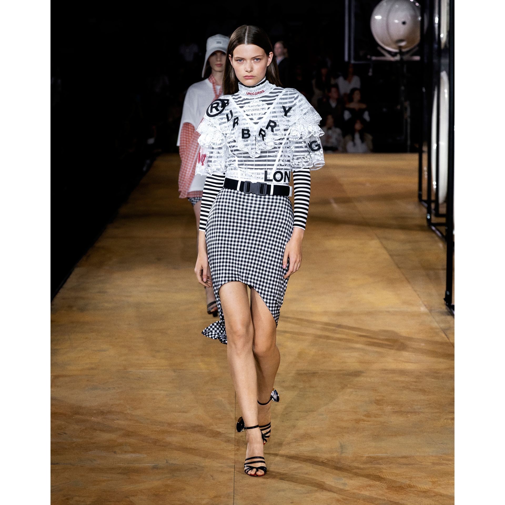 Scarf-tie Detail Gingham Mini Skirt in Black - Women | Burberry - gallery image 5